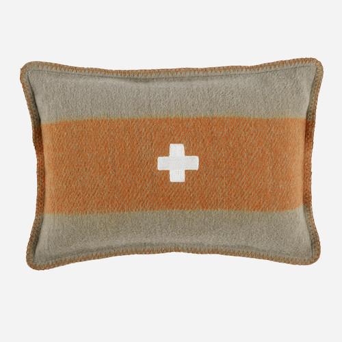 Swiss Army Pillow Cover 14x20 Grey/Orange