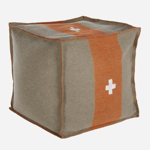 Swiss Army Pouf 18x18x18 Grey/Orange