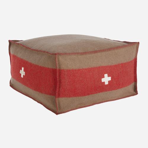 Swiss Army Pouf 24x24x13 Brown/Red