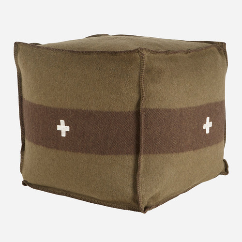 Swiss Army Pouf 24x24x24 Green/Brown