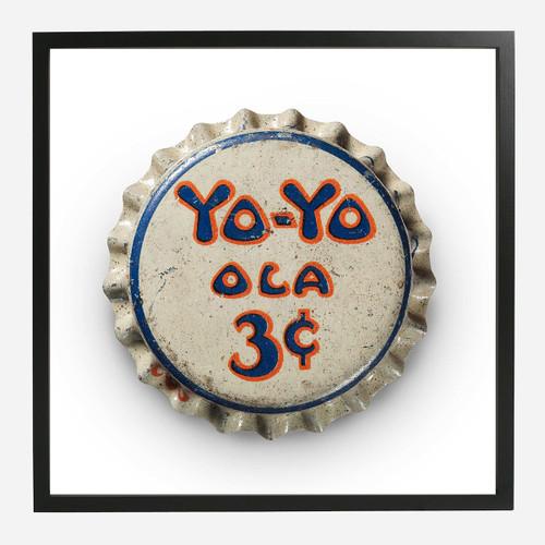 Framed Bottle Cap Print, YoYo 20x20