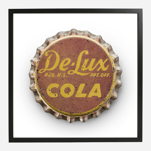 Framed Bottle Cap Print, De Lux 20x20
