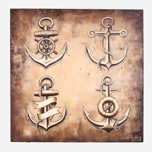 Art on Reclaimed Metal, Anchors 36x36