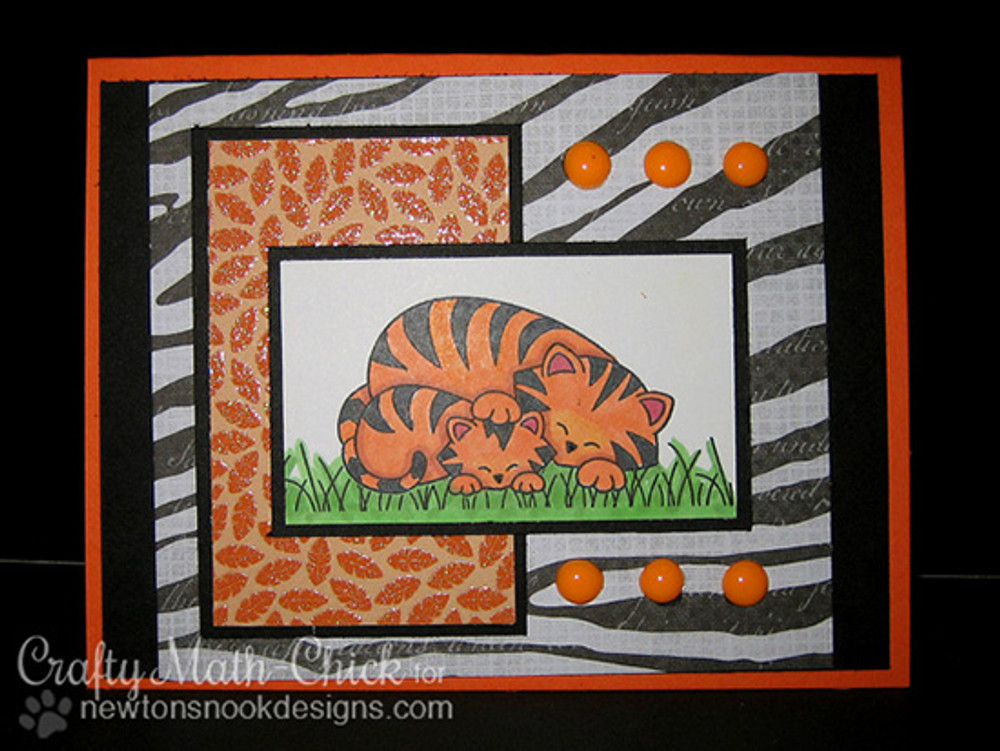 Tiger and cub card  | Wild Child stamp set ©2014 Newton's Nook Designs