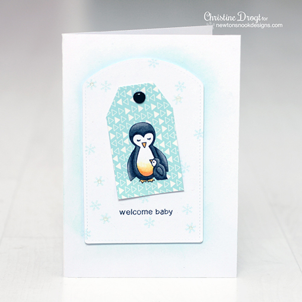 Penguin and chick welcome baby card  | Wild Child stamp set ©2014 Newton's Nook Designs