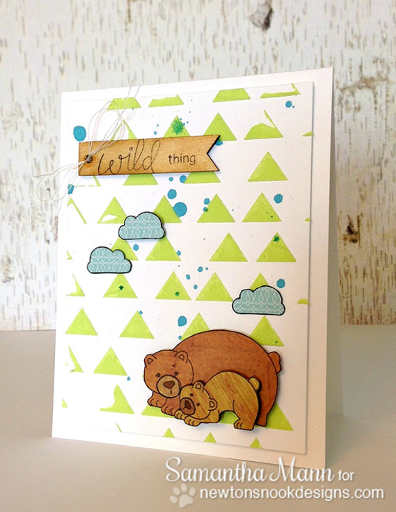 Bear and cub card Wild about you card  | Wild Child stamp set ©2014 Newton's Nook Designs