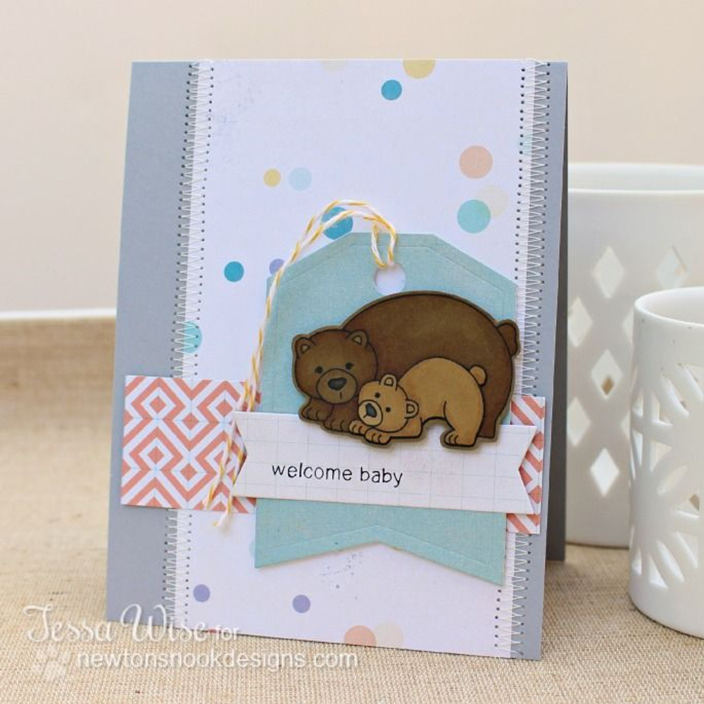 Bear and cub card Baby card  | Wild Child stamp set ©2014 Newton's Nook Designs