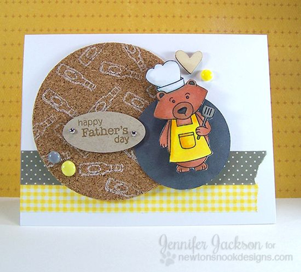 Happy Fathers Day Bear Card | Winston's BBQ stamp set ©2014 Newton's Nook Designs