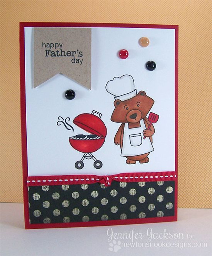Happy Fathers Day Bear Card| Winston's BBQ stamp set ©2014 Newton's Nook Designs