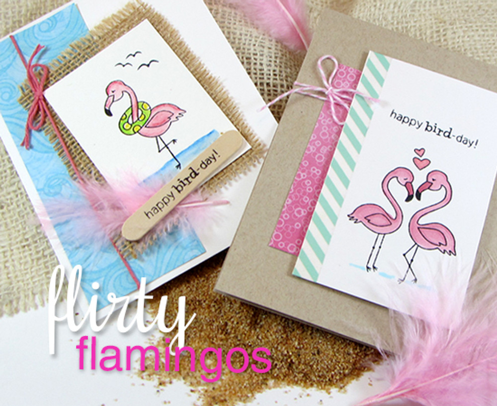 Flamingo Birthday and Love Cards | Flirty Flamingos stamp ©2014 Newton's Nook Designs