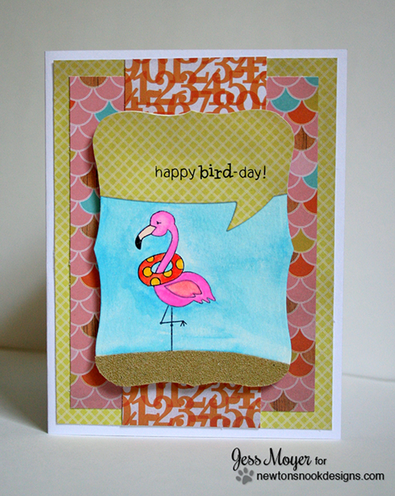 Tropical flamingo Birthday card | Flirty Flamingos stamp set ©2014 Newton's Nook Designs