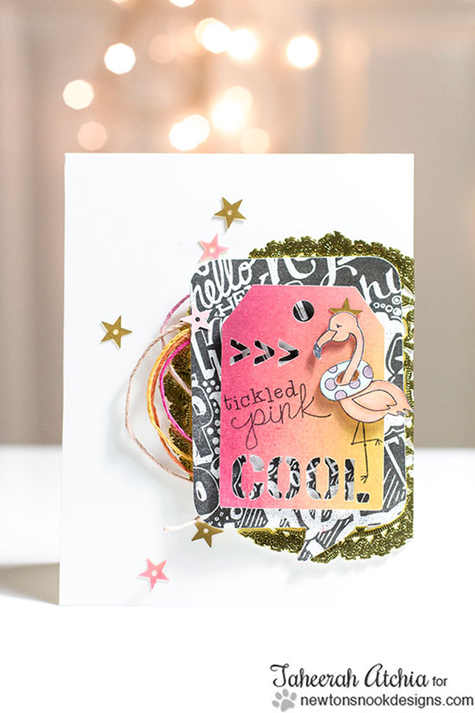Fun Flamingo card   Flirty Flamingos stamp set ©2014 Newton's Nook Designs
