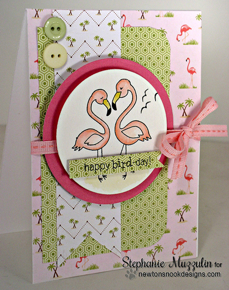 Flamingo couple Birthday card | Flirty Flamingos stamp set ©2014 Newton's Nook Designs