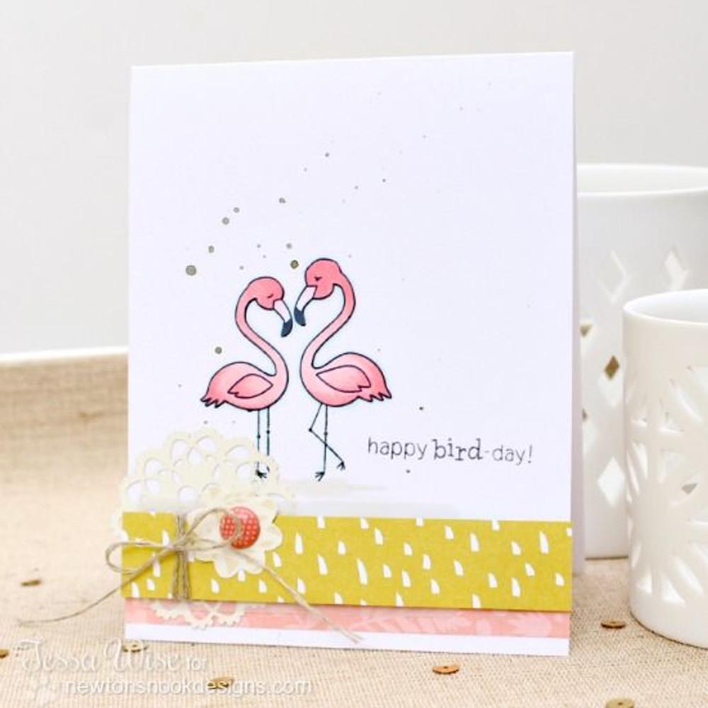 Flamingo couple Birthday card | Flirty Flamingos stamp set ©2014 Newton's Nook Designs