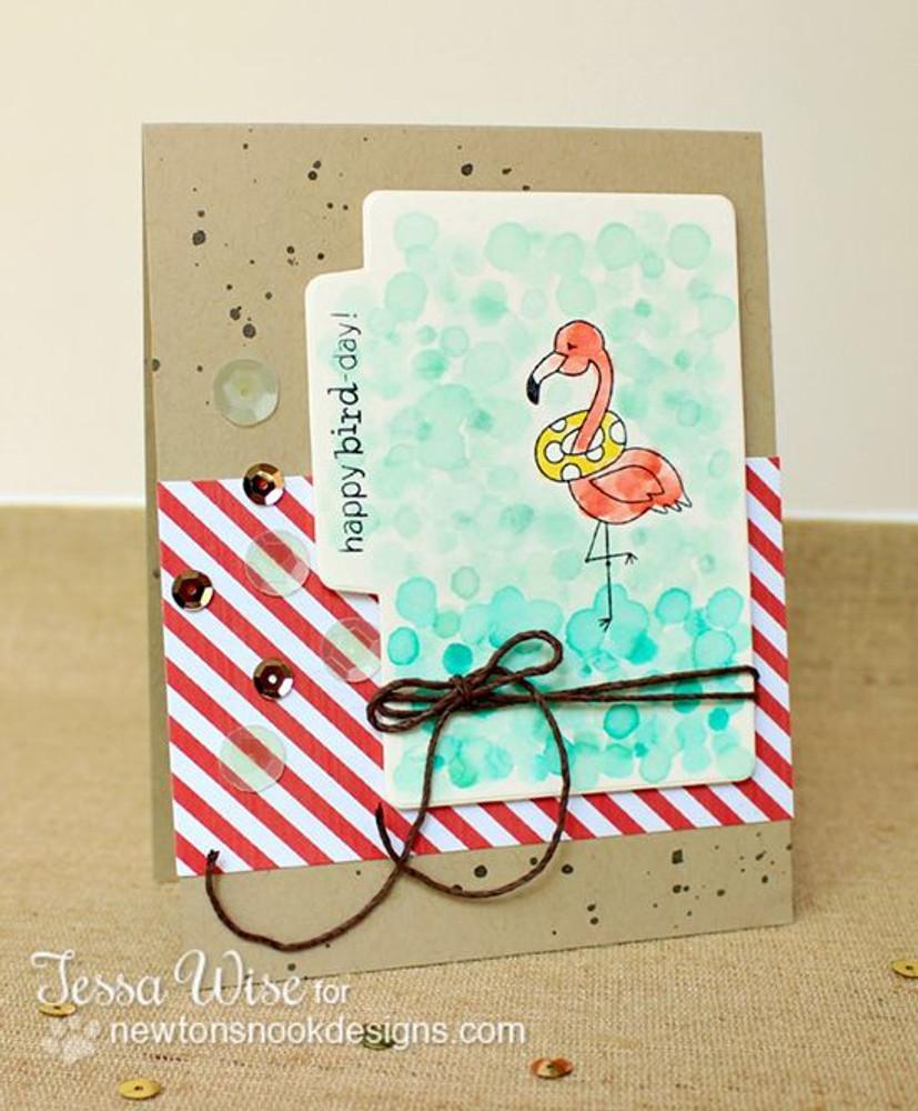 Flamingo Birthday Card | Flirty Flamingos stamp set ©2014 Newton's Nook Designs