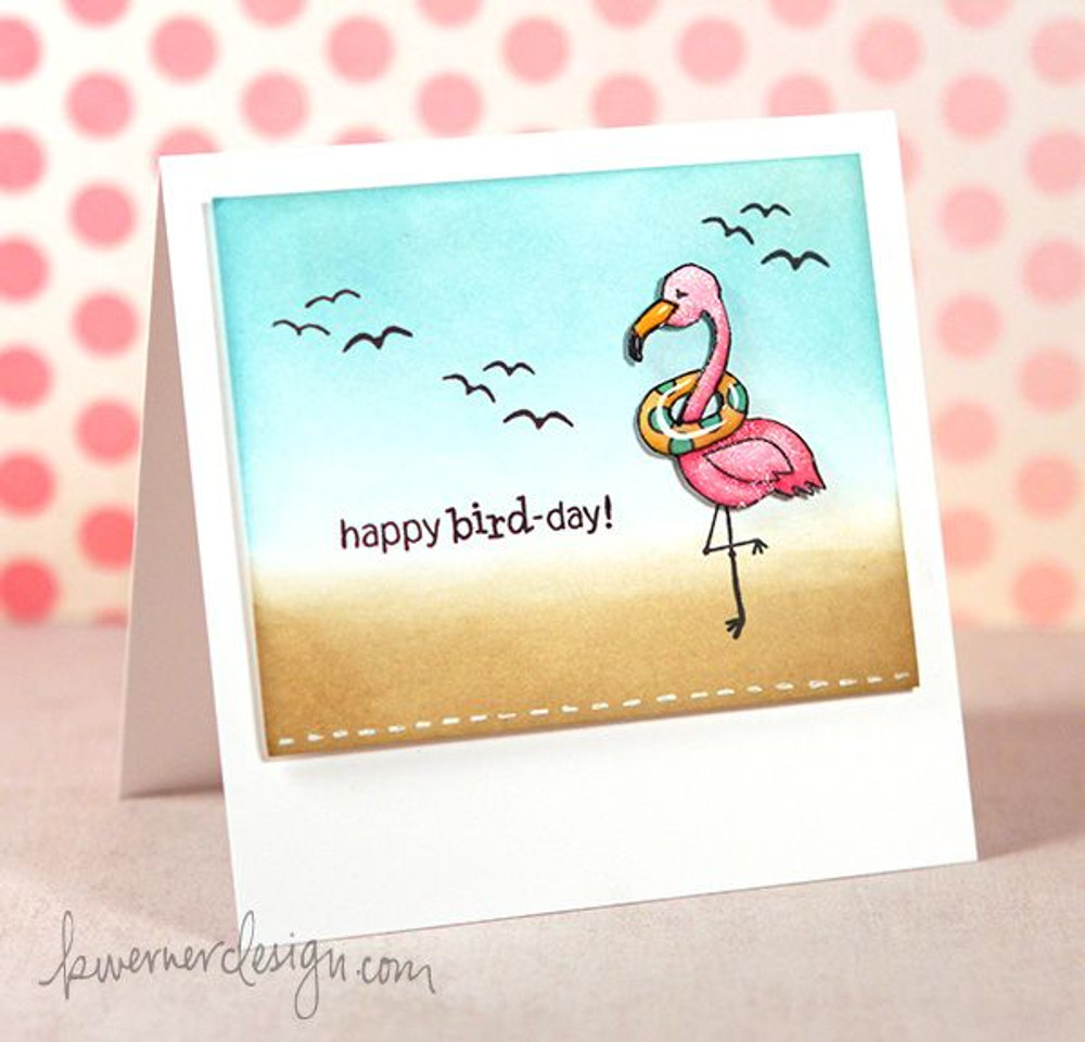 Flamingo Birthday Card | Flirty Flamingos stamp set ©2014 Newton's Nook Designs