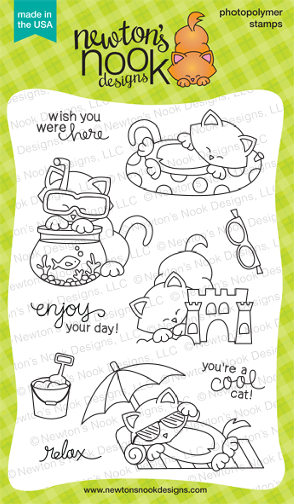 Newton's Summer Vacation | 4x6 photopolymer Stamp Set | ©2014 Newton's Nook Designs