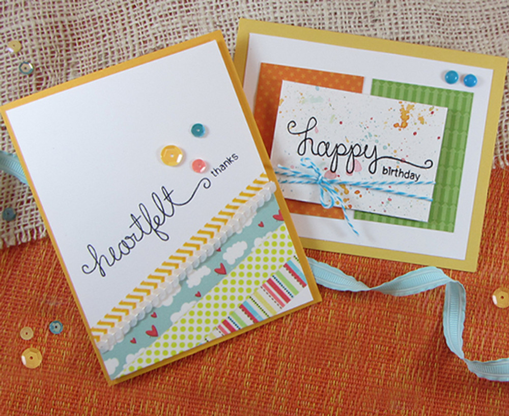 Birthday and Thanks cards made with Simply Sentimental stamp set from Newton's Nook Designs | 4x6 photopolymer Stamp Set | ©2014 Newton's Nook Designs
