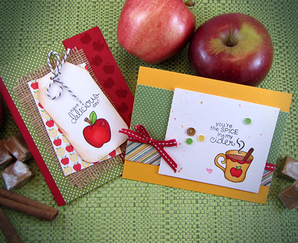 Apple Cards | Apple Delights | 3x4 photopolymer Stamp Set | ©2014 Newton's Nook Designs