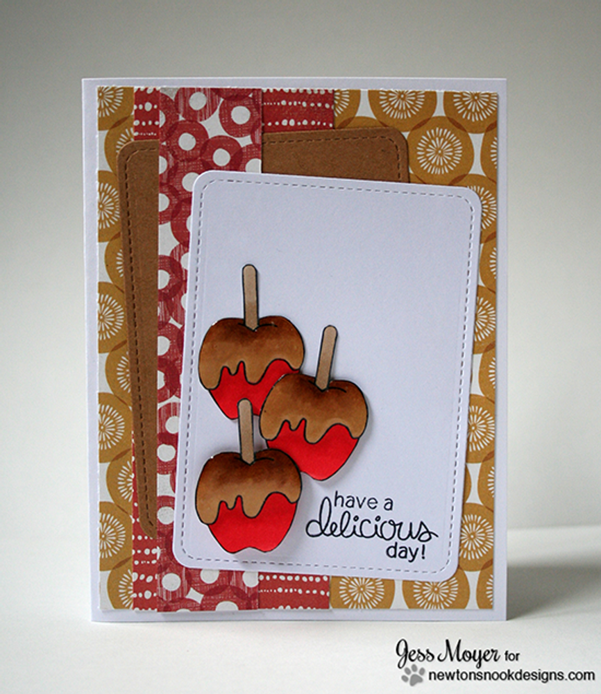 Caramel Apple Card | Apple Delights | 3x4 photopolymer Stamp Set | ©2014 Newton's Nook Designs