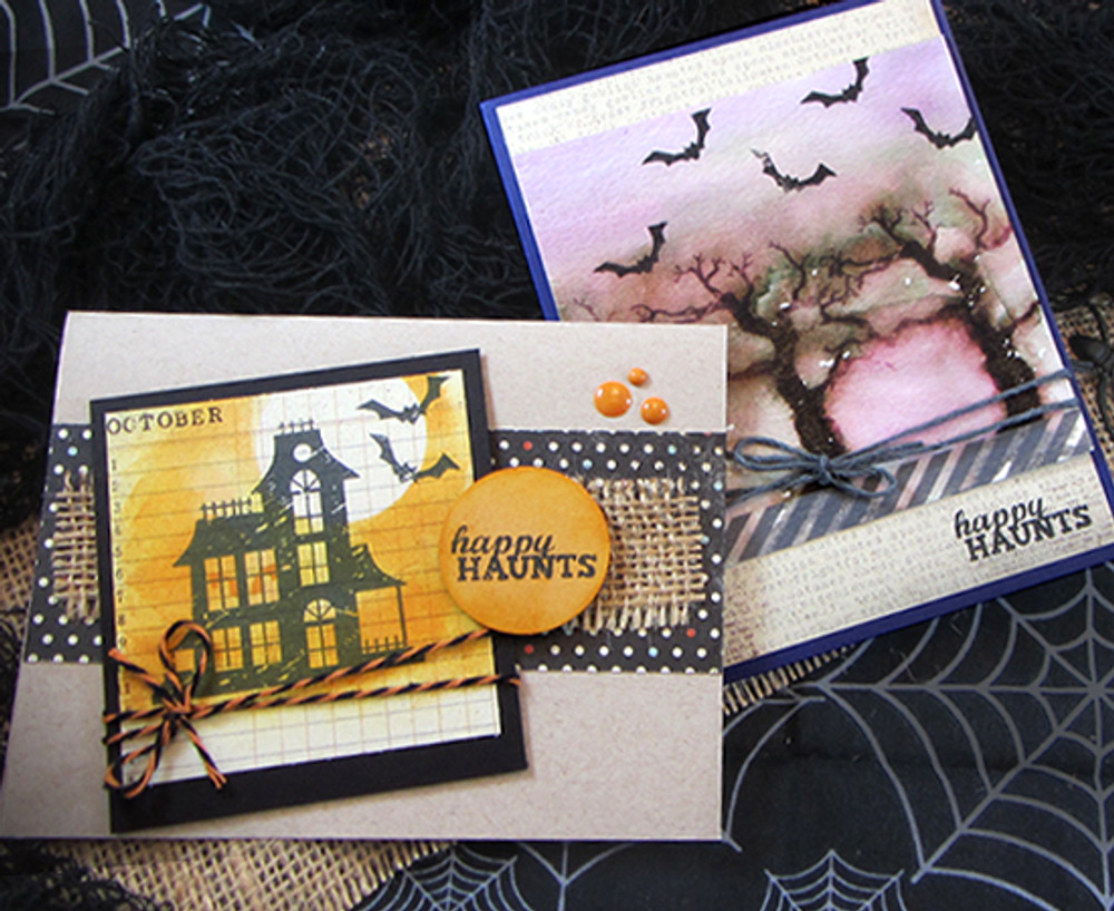 Haunted House and Spooky Tree Cards | Spooky Street Stamp Set ©2014 Newton's Nook Designs