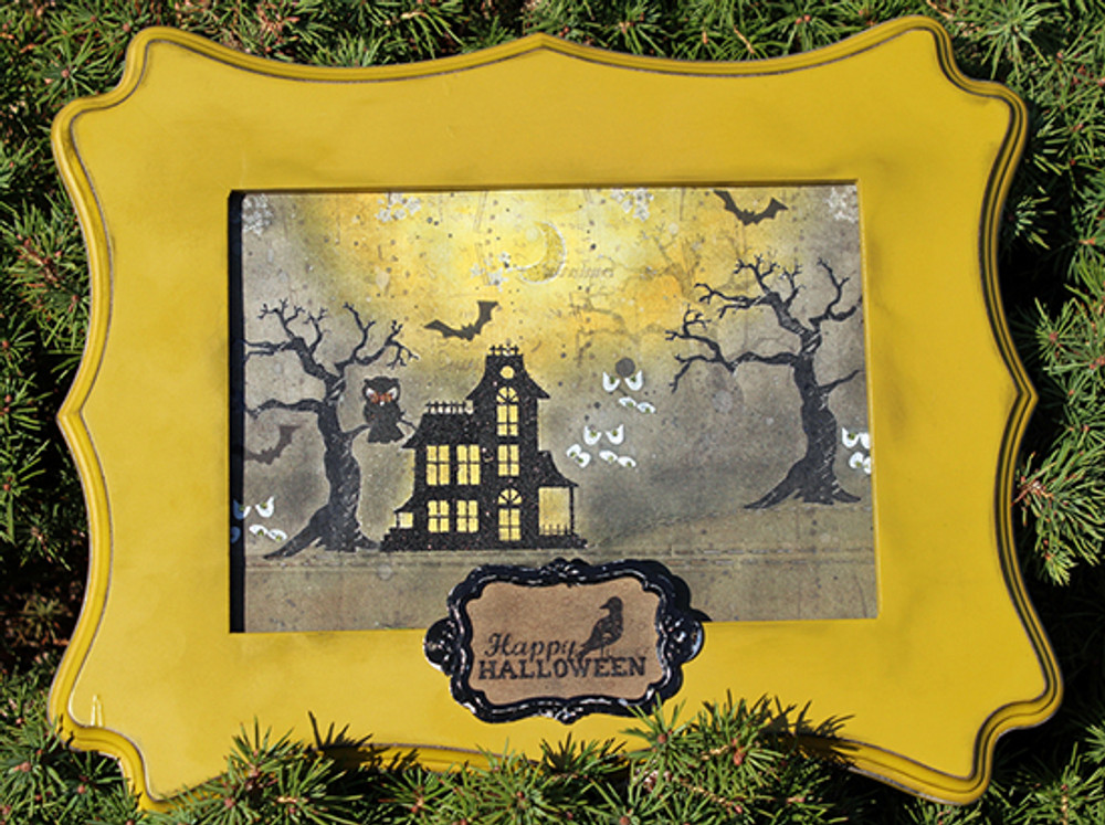 Halloween Frame Home Decor | Spooky Street Stamp Set ©2014 Newton's Nook Designs