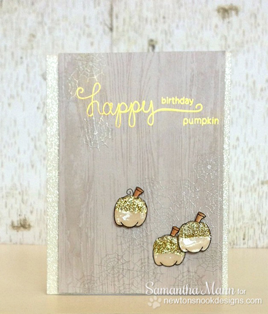 Halloween Sparkle Pumpkins Card | Newton's Perfect Pumpkin Stamp Set ©2014 Newton's Nook Designs