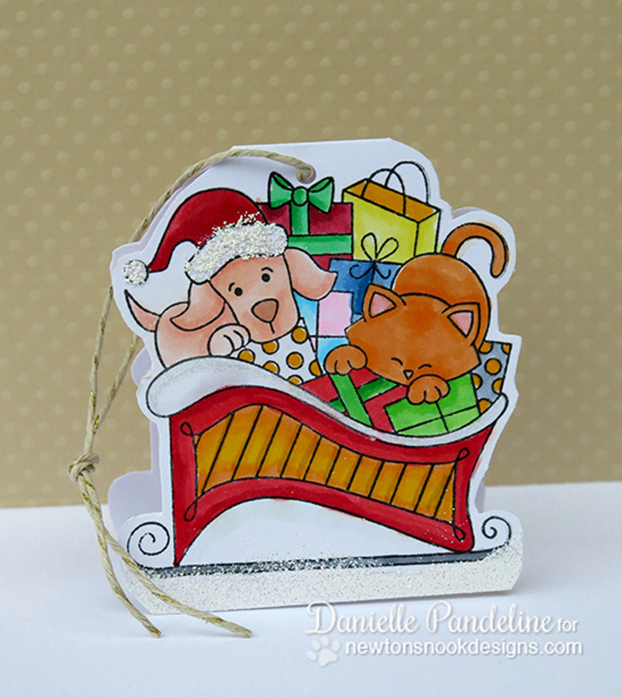Dog and Cat Paper ornament | Christmas Delivery | 3x4 photopolymer Stamp Set | ©2014 Newton's Nook Designs