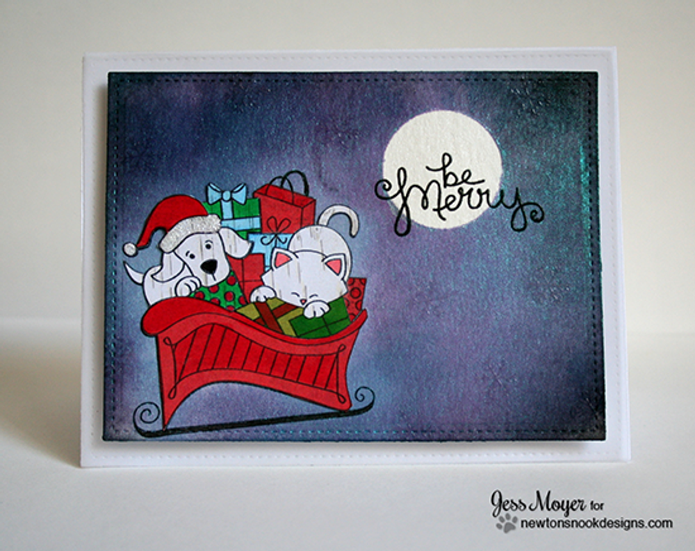Dog and Cat Christmas Card | Christmas Delivery | 3x4 photopolymer Stamp Set | ©2014 Newton's Nook Designs