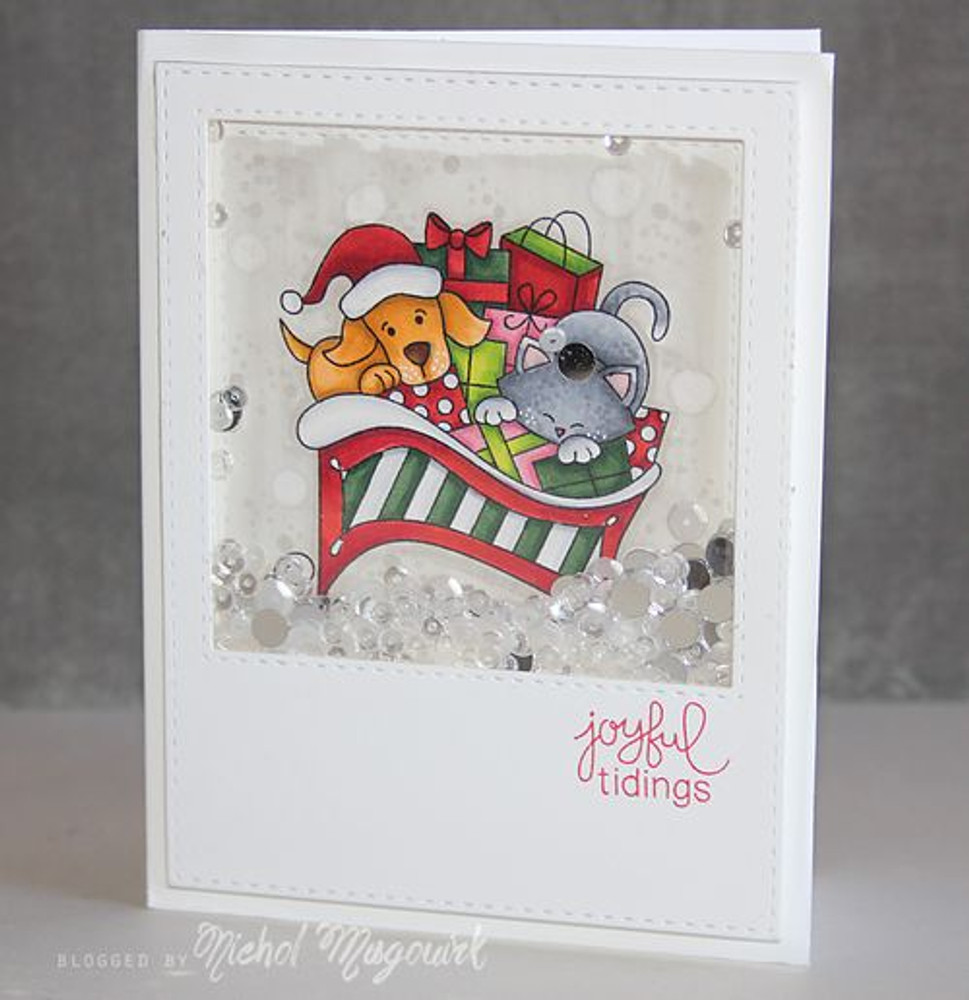 Dog and Cat Sleigh Card | Christmas Delivery | 3x4 photopolymer Stamp Set | ©2014 Newton's Nook Designs