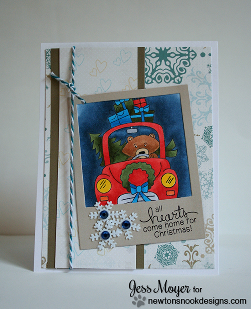 Bear with gifts Christmas Card   Winston's Home For Christmas   4x6 photopolymer Stamp Set   ©2014 Newton's Nook Designs