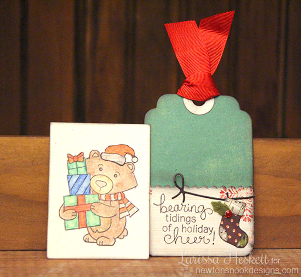 Bear with gifts Christmas Tag with Insert | Winston's Home For Christmas | 4x6 photopolymer Stamp Set | ©2014 Newton's Nook Designs