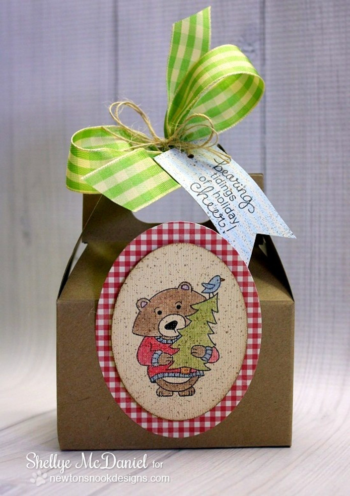 Bear with Tree Christmas Box | Winston's Home For Christmas | 4x6 photopolymer Stamp Set | ©2014 Newton's Nook Designs