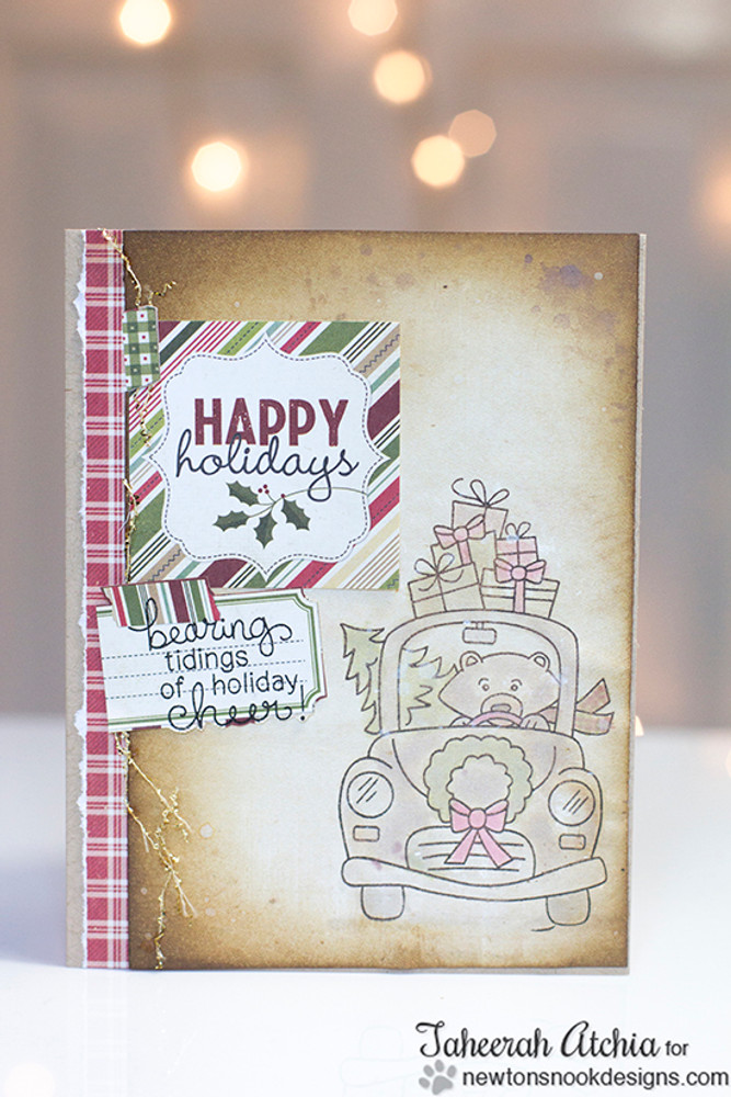 Bear with gifts Christmas Card | Winston's Home For Christmas | 4x6 photopolymer Stamp Set | ©2014 Newton's Nook Designs