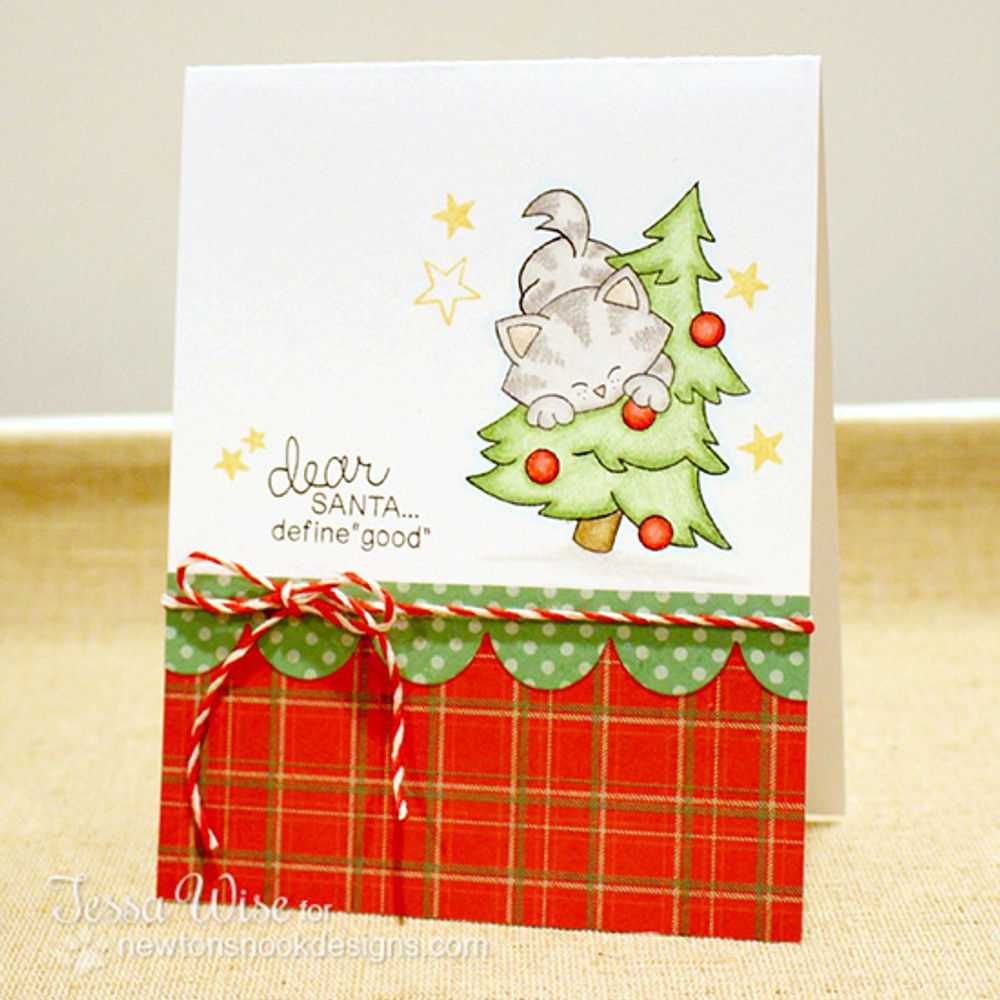 Cat in a Tree Christmas Card | Newton's Curious Christmas | 4x6 photopolymer Stamp Set | ©2014 Newton's Nook Designs