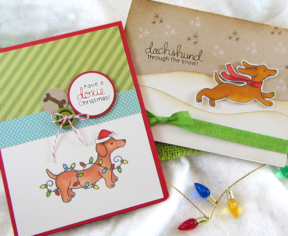 Dachshund Christmas and Winter Cards | Holiday Hounds | 4x6 photopolymer Stamp Set | ©2014 Newton's Nook Designs