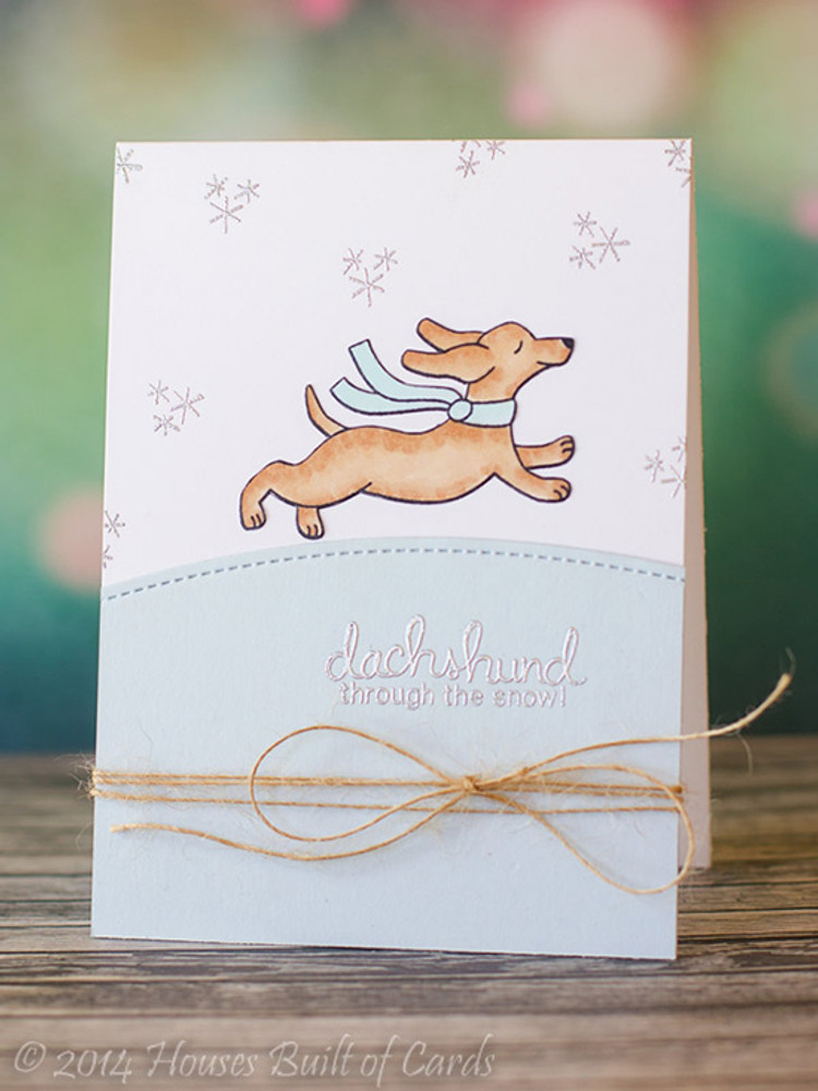 Dachshund Winter Card   Holiday Hounds   4x6 photopolymer Stamp Set   ©2014 Newton's Nook Designs