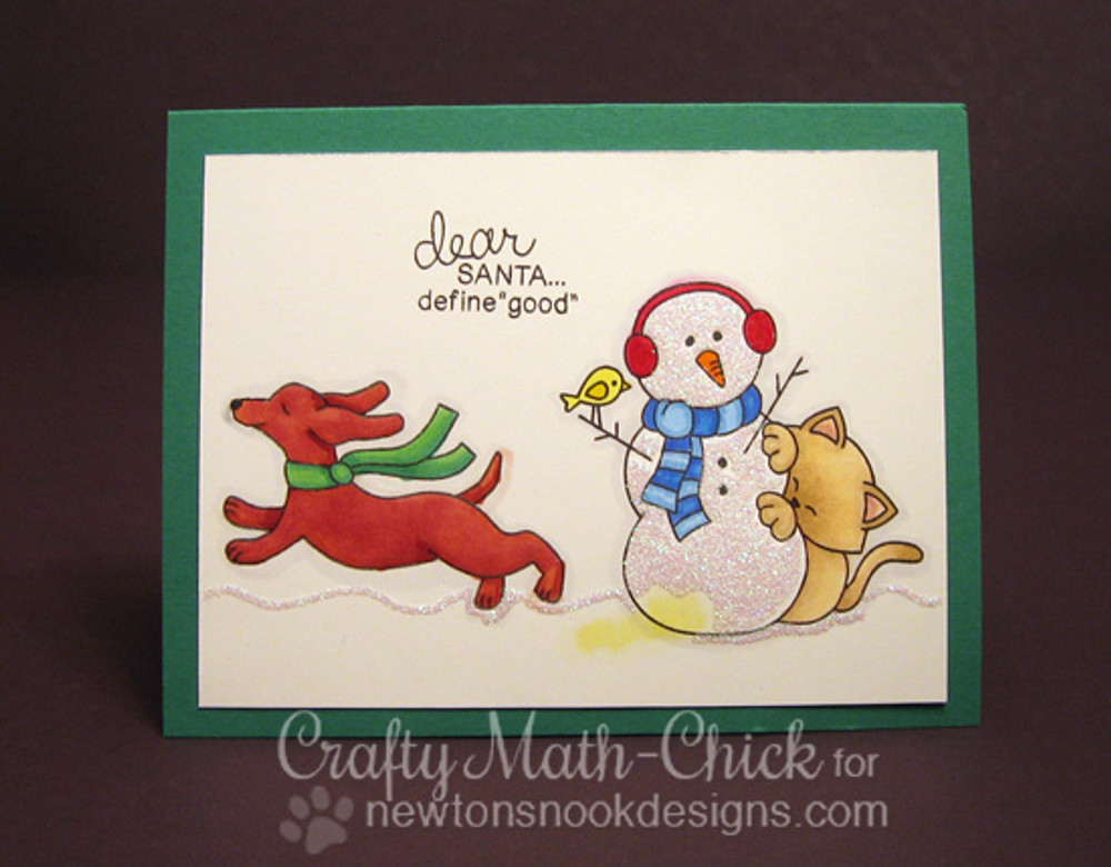 Dachshund Cat and Snowman Christmas Card | Holiday Hounds | 4x6 photopolymer Stamp Set | ©2014 Newton's Nook Designs