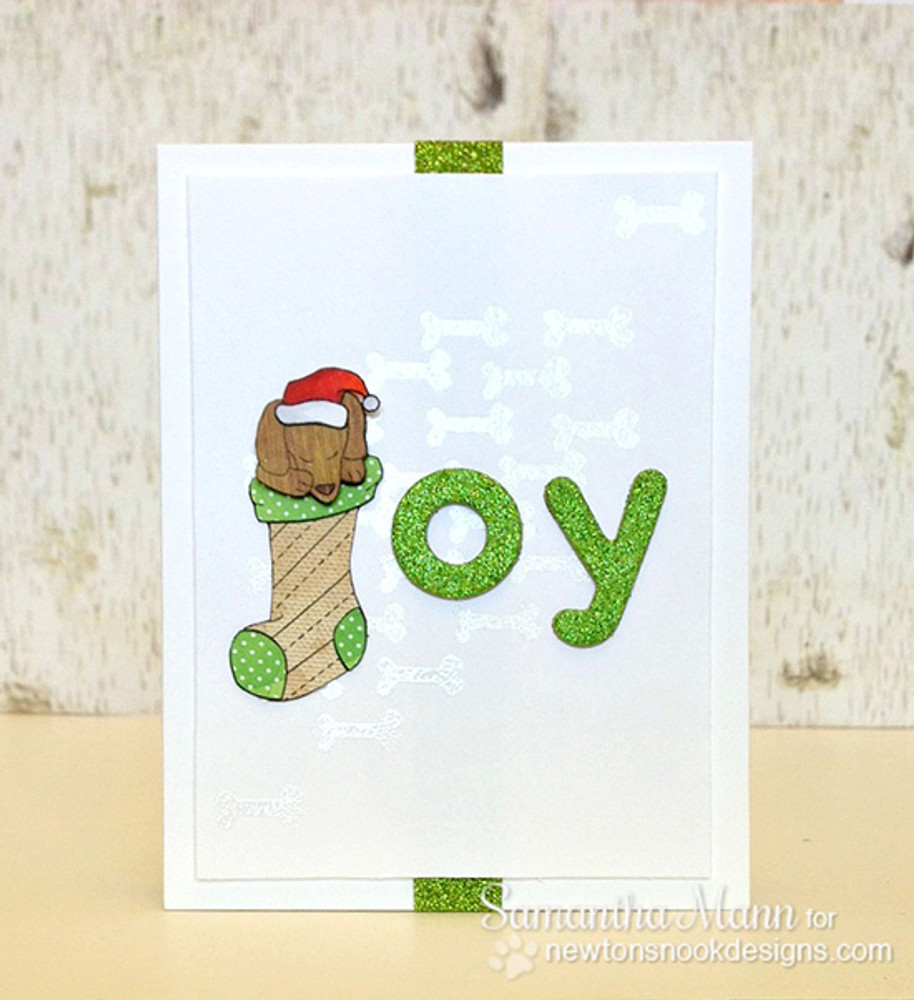 Dachshund Christmas Card   Holiday Hounds   4x6 photopolymer Stamp Set   ©2014 Newton's Nook Designs
