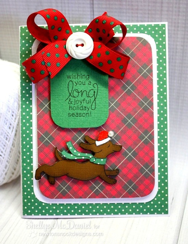 Dachshund Holiday Card | Holiday Hounds | 4x6 photopolymer Stamp Set | ©2014 Newton's Nook Designs