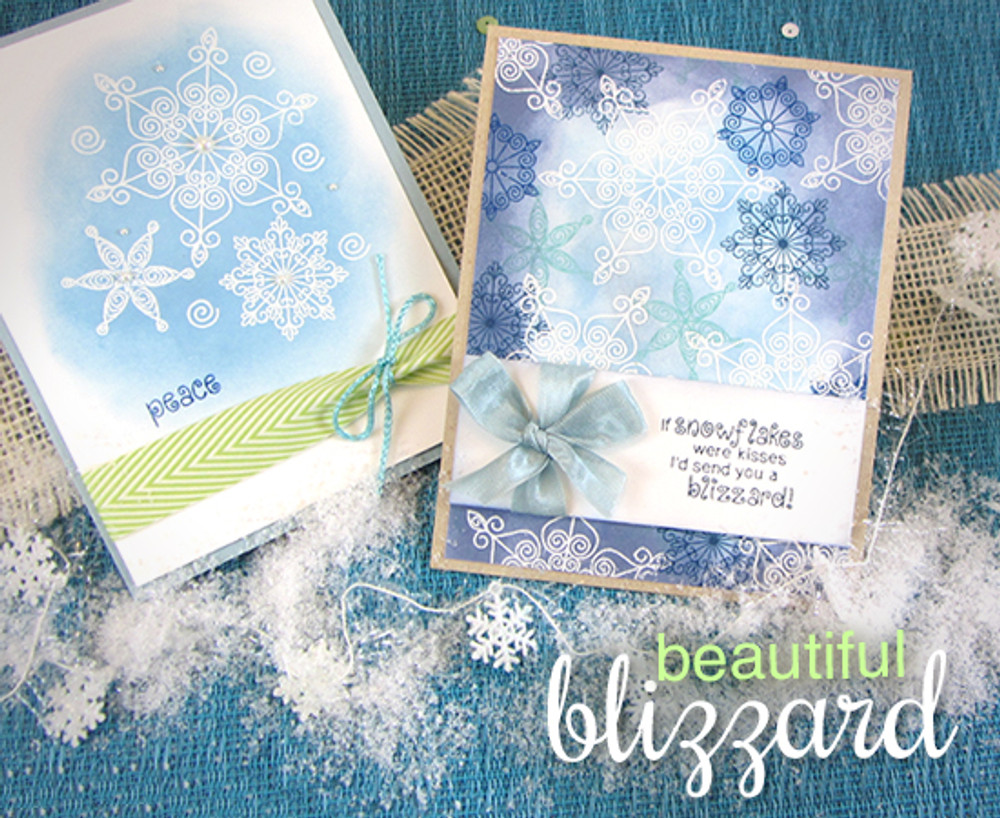 Snowflake Winter Cards | Winter Tails | 4x6 photopolymer Stamp Set | ©2014 Newton's Nook Designs