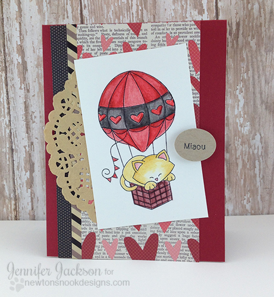 Cat in Hot Air Balloon Card| Newton Dreams of Paris | 4x6 photopolymer Stamp Set | ©2015 Newton's Nook Designs