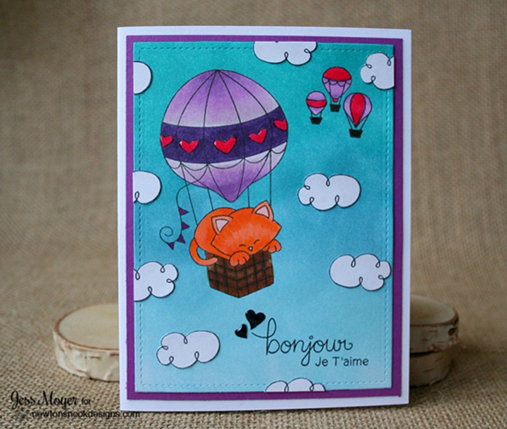 Cat in Hot Air Balloon Card | Newton Dreams of Paris | 4x6 photopolymer Stamp Set | ©2015 Newton's Nook Designs