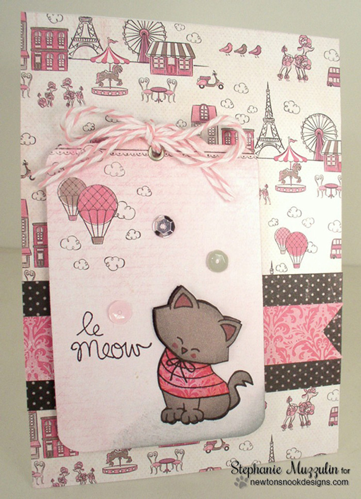 Cat in Paris Le Meow Card | Newton Dreams of Paris | 4x6 photopolymer Stamp Set | ©2015 Newton's Nook Designs