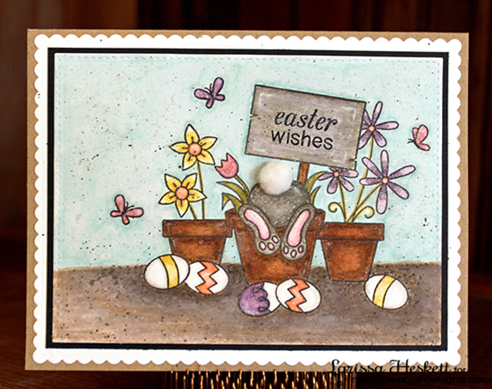 Bunny Butt Easter Card | Bunny Hop | 3x4 photopolymer Stamp Set | ©2015 Newton's Nook Designs