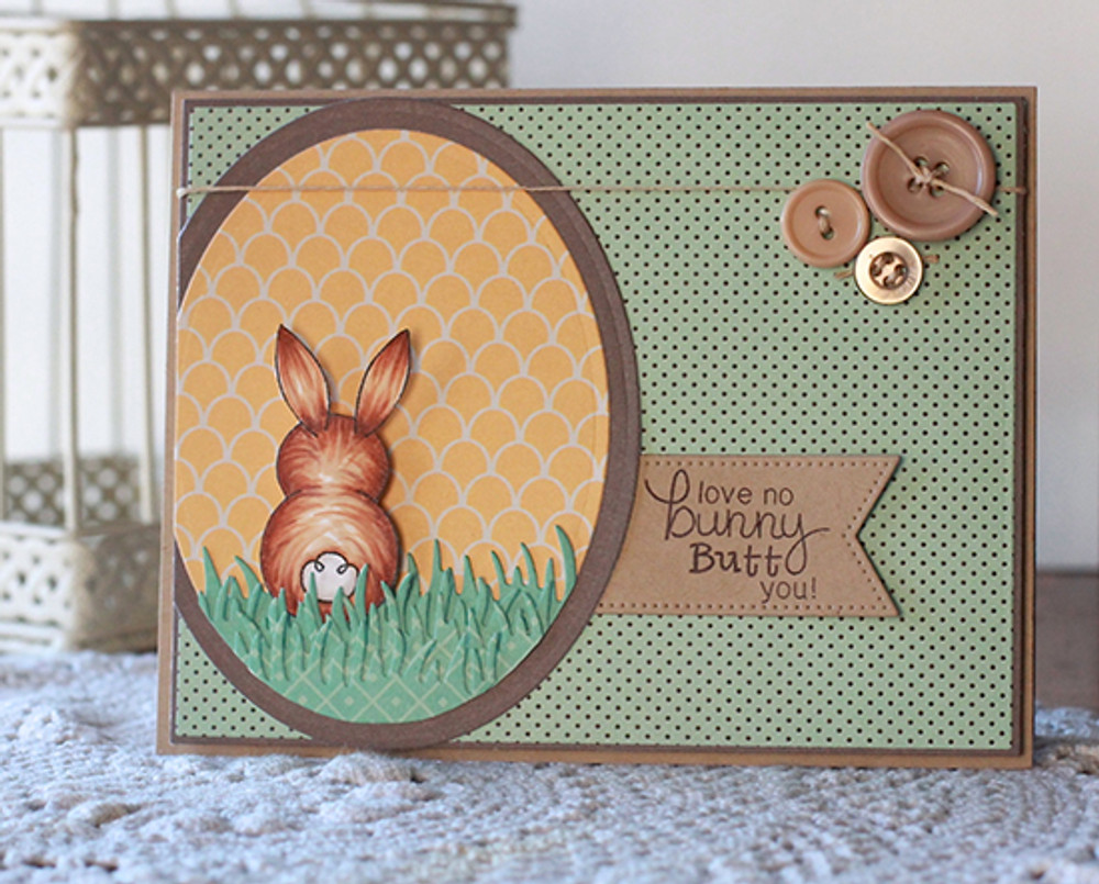Bunny Love Card | Bunny Hop | 3x4 photopolymer Stamp Set | ©2015 Newton's Nook Designs