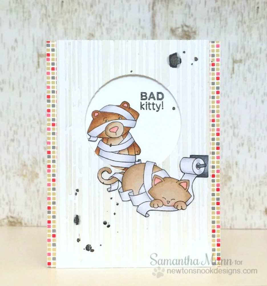 Naughty Cat Card | Naughty Newton | 4x6 photopolymer Stamp Set | ©2015 Newton's Nook Designs