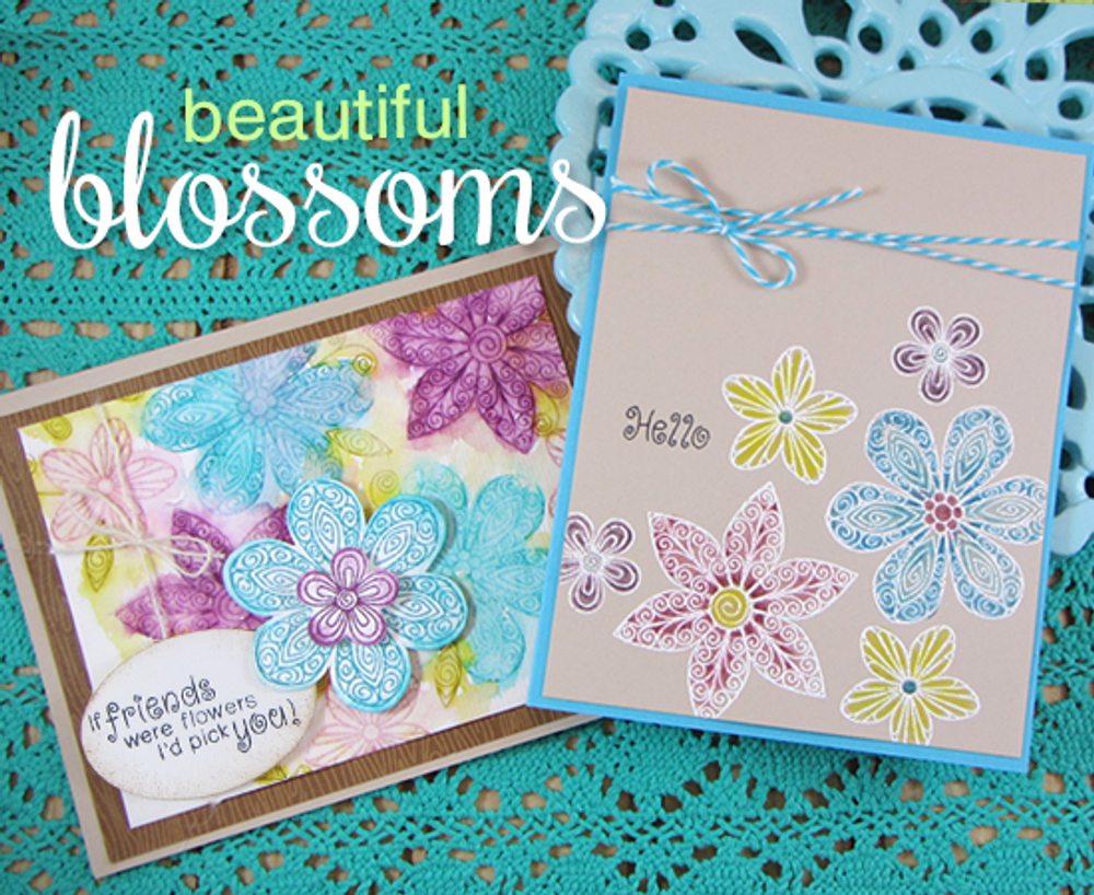 Friendship flower Cards | Beautiful Blossoms | 4x6 photopolymer Stamp Set | ©2015 Newton's Nook Designs
