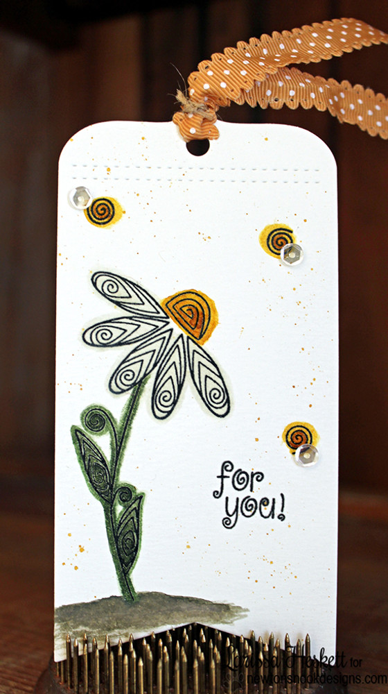 Flower tag | Beautiful Blossoms | 4x6 photopolymer Stamp Set | ©2015 Newton's Nook Designs