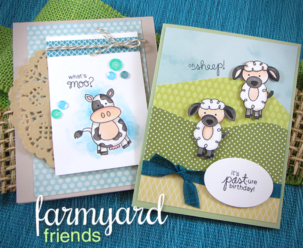 Farmyard Friends | 4x6 Photopolymer Stamp Set | ©2015 Newton's Nook Designs